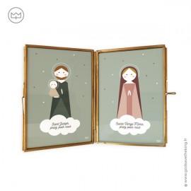 Cadre laiton doré Sainte Famille - Saints Joseph, Marie et Jésus