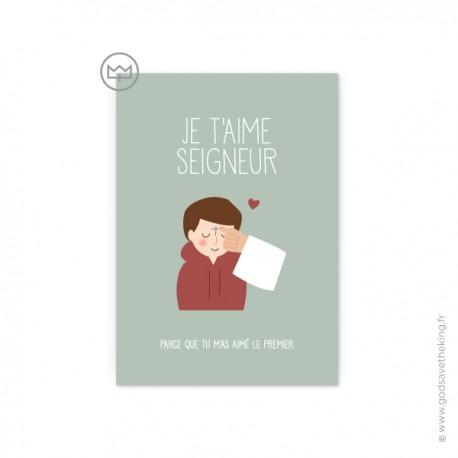 """Carte de prière acte de charité """"je t'aime Seigneur"""" version garçon - fabriquée en France - Création Godsavetheking"""